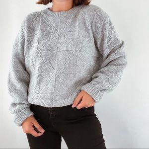 NO BRAND   Vintage Gray Grandpa Crewneck Oversized Sweater Sz L